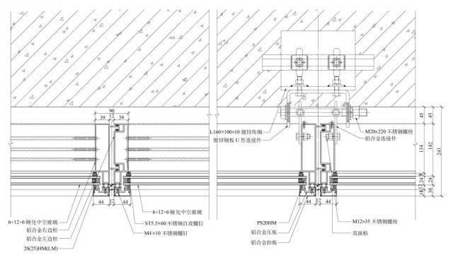 玻璃幕墙工艺构造( 单元式幕墙)、高清节点图