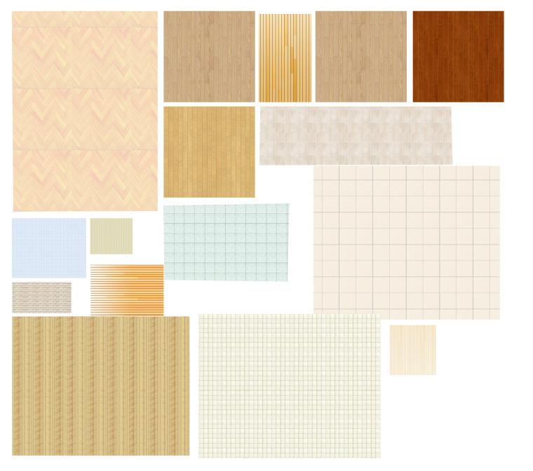 室内设计常用PSD彩色平面图块—铺装类PSD图块