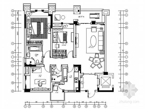 [重庆]时尚现代三居室精装洋房家装装修施工图(含效果)