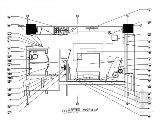 [深圳]高端商务酒店豪华单人间室内设计施工图(含效果图)