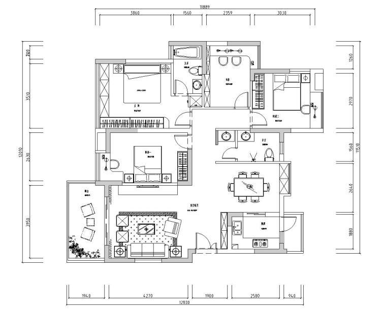 特色一层家居施工图设计(简约风格)