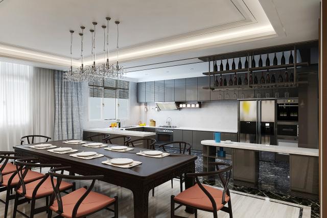 餐厅厨房 (1)-新中式风格第1张图片