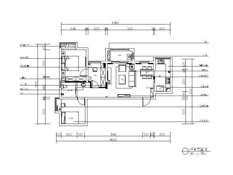 [湖北]田园风格样板间设计CAD施工图(含效果图)