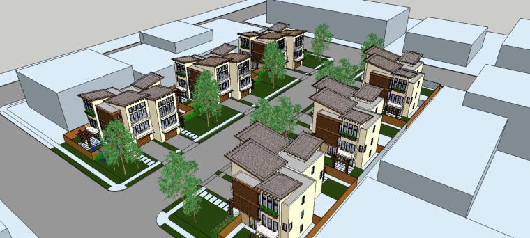 商品房住宅su模型设计-场景二