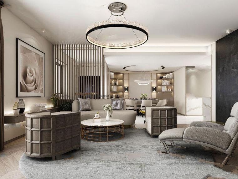 现代风格客厅餐厅空间3D模型