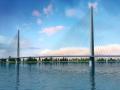 柱式塔四索面分离式钢箱梁斜拉桥施工动画演示