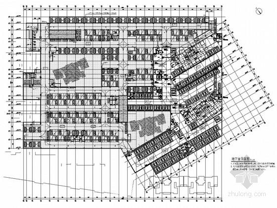 地下一层框架结构双层机械复式小汽车停车库结构图(含建筑图)