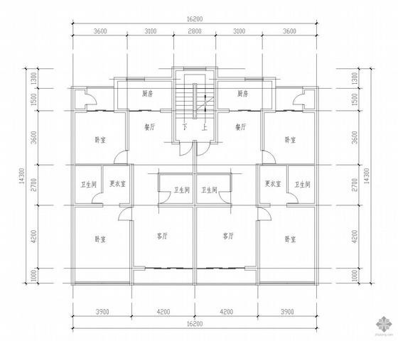 板式多层一梯两户户型图(110.8/110.8)