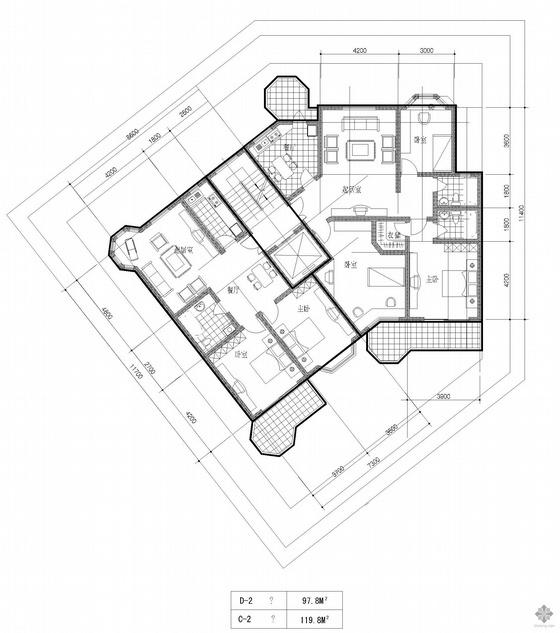 塔式高层一梯两户户型图(98/120)