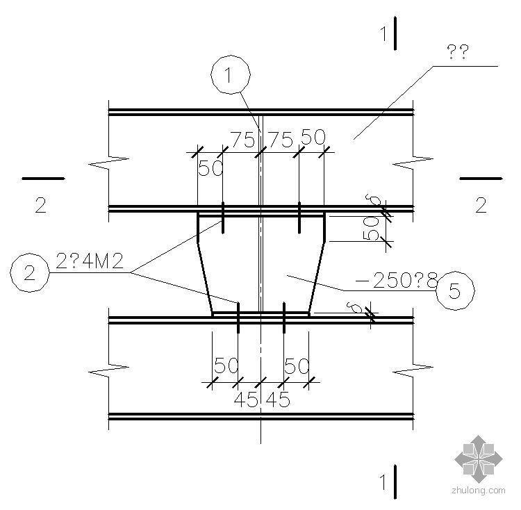 某曲轨梁与钢梁连接节点构造详图