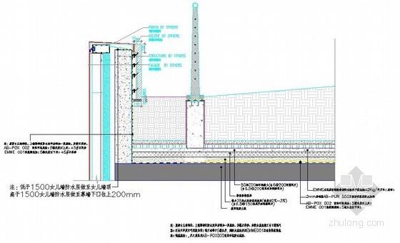 屋面种植区女儿墙部位防水大样详图