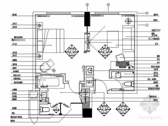 [重庆]现代简约酒店商务套房室内装修施工图