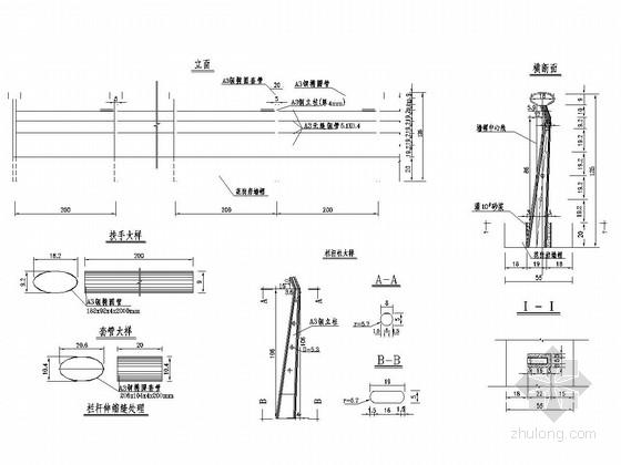 桥梁工程不锈钢管栏杆设计图(6张 多样式)
