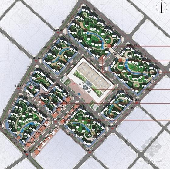 [甘肃]高层城市综合商贸广场建筑设计方案文本(多个方案)-高层城市综合商贸广场总平面图
