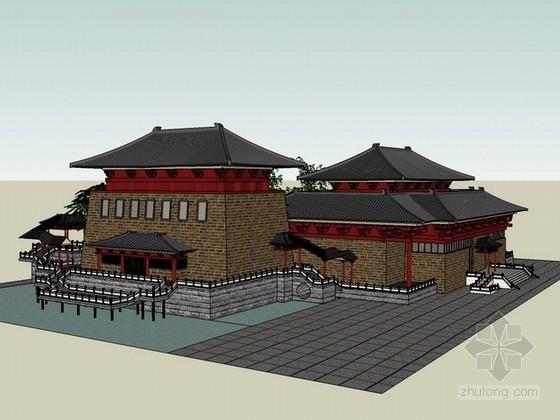 唐代古建筑sketchup模型下载