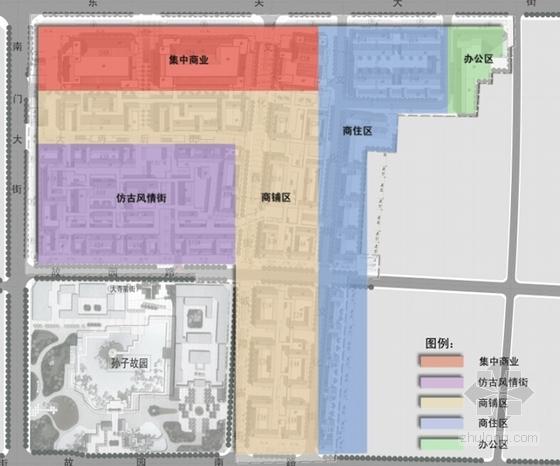 [山东]仿古风格步行商业街概念性修建规划设计方案文本(含CAD)-仿古风格步行商业街概念性修建规划分析图
