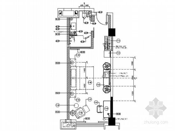 [锦阳]5星高档酒店标准大床房室内设计CAD施工图(含效果图)