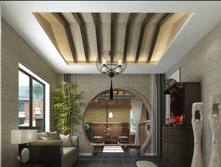 某中式风格联排别墅室内装修设计施工图及效果图-佛堂效果图