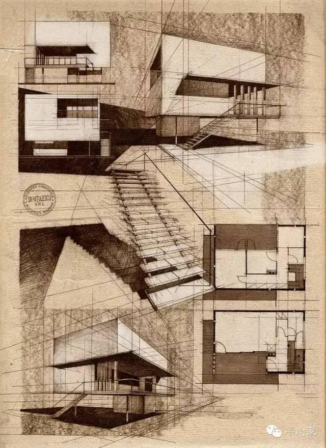 百年经典建筑设计手绘图