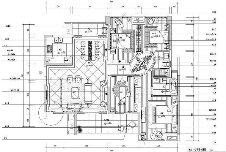 [广东]欧式城市时代T1B样板房室内施工图设计(浅色调欧式)