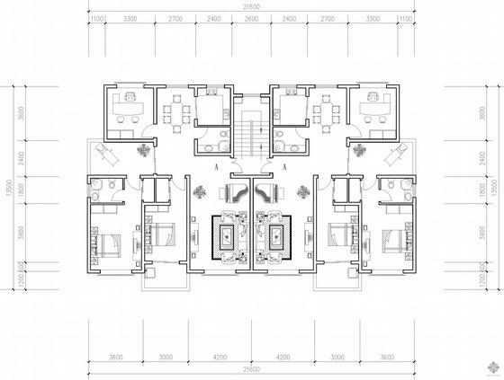 板式多层一梯二户二室一厅二卫花园洋房户型图(139/139)
