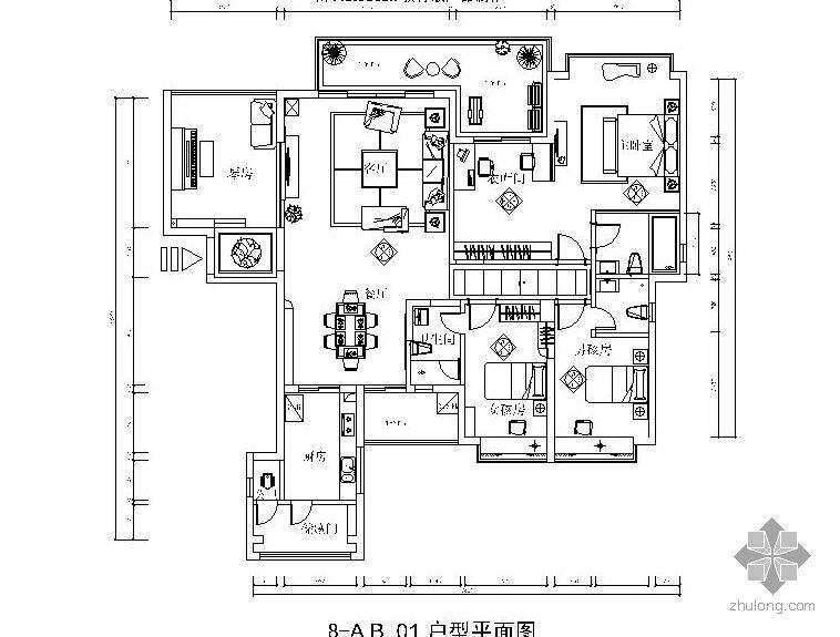 某学府四室两厅设计图(含效果)