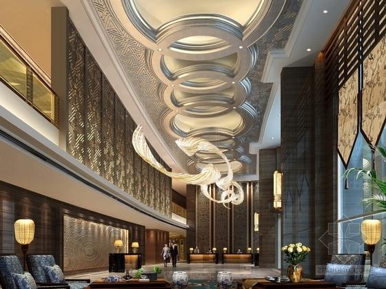 [贵州]新中式超五星级高端酒店大堂效果图