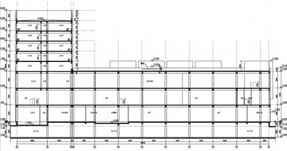 [上海]花园式大型现代风格商业广场设计方案文本-花园式大型现代风格商业广场剖面图
