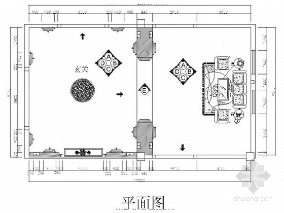 [广东]原创设计豪华欧式风格陶瓷展厅装修施工图(含效果)