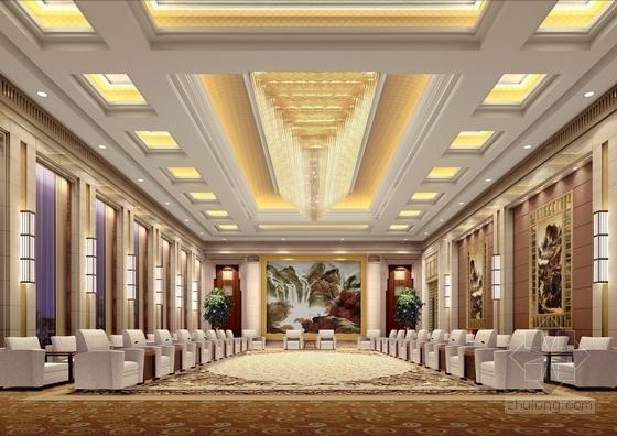 [河北]奢华古典山水园林式宾馆精装修设计方案图接见厅效果图