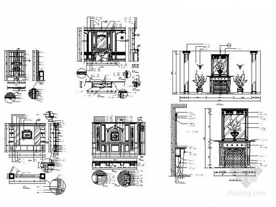 欧式壁炉CAD大样图下载