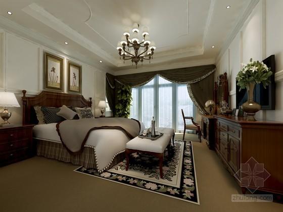 美式卧室3D模型下载