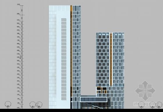 [湖南]点式塔楼高层科技办公大厦建筑设计方案文本-点式塔楼高层科技办公大厦立面图