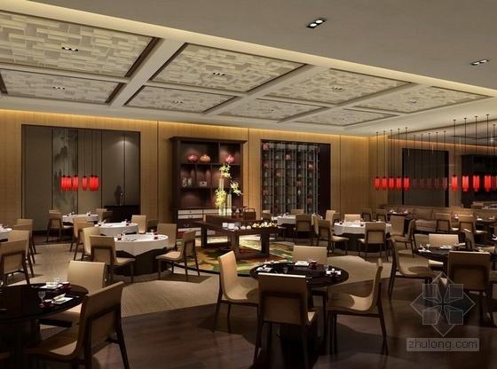 [湖南]别具一格奢华高档五星级商务酒店设计方案中餐大厅效果图