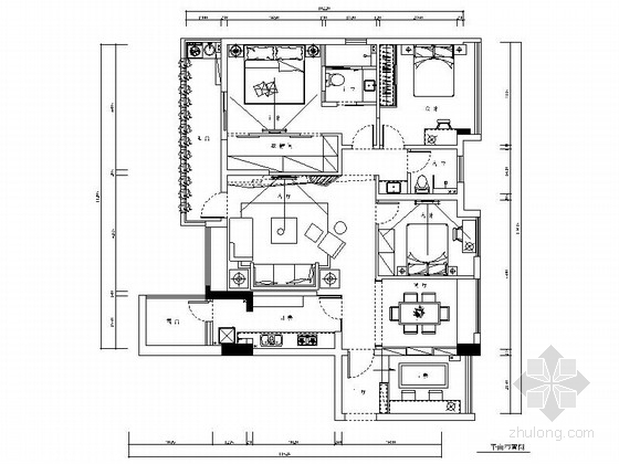 [武汉]人文水岸风情小镇时尚现代四居室装修施工图(含效果)