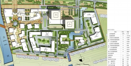 [江苏]景观式企业总部双塔大厦建筑设计方案文本(知名地产含CAD)-景观式企业总部双塔大厦建筑总平面图