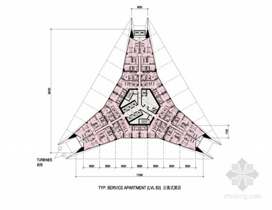 超高层玻璃幕墙办公塔楼建筑设计分析图
