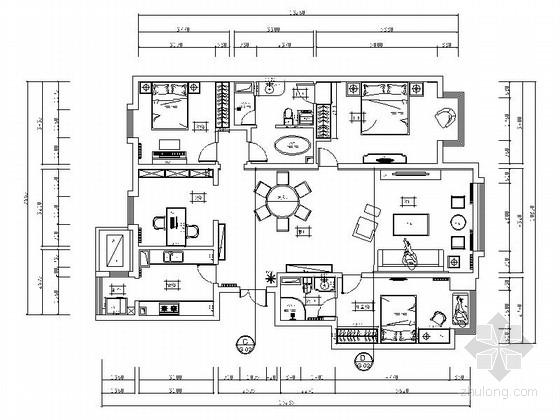[北京]高档小区现代四居室样板间装修施工图