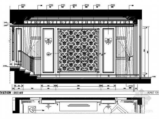 立面[浙江]某公馆时尚简欧三层别墅装修图(含效果)客厅图