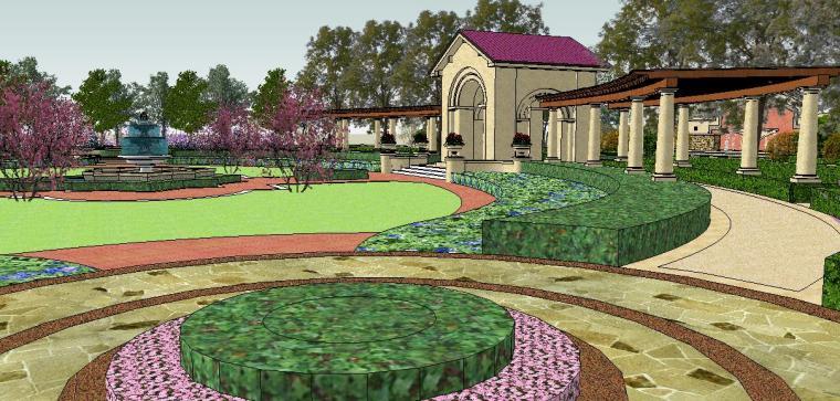 新古典主义居住区广场模型 3