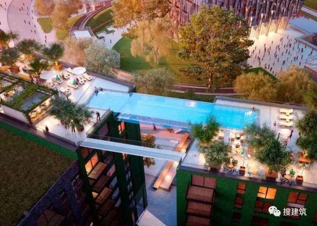 """27米长的""""空中泳池"""",在两栋大楼的第10层连接在一起,中间完全_2"""