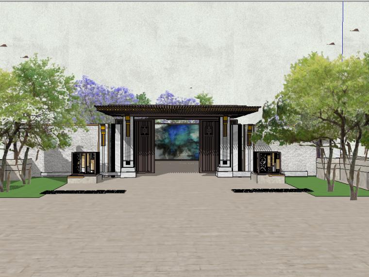 精细新中式风格入口大门围墙模型设计