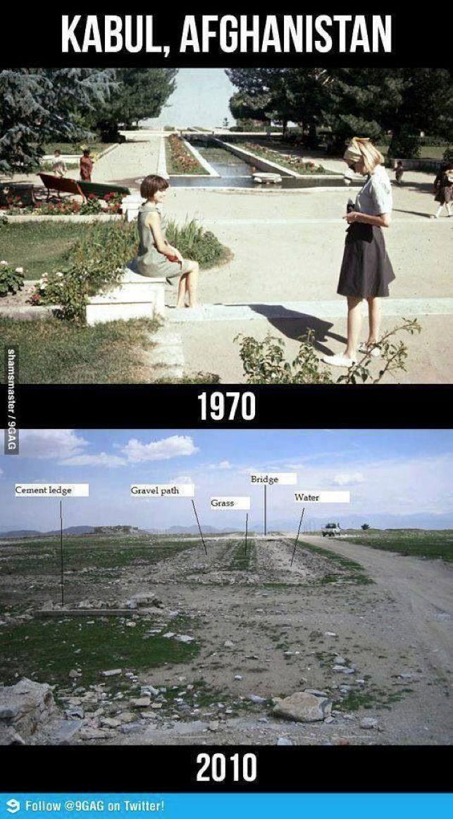 叙利亚战争后的城市建筑对比,满地废墟浓烟弥漫_36