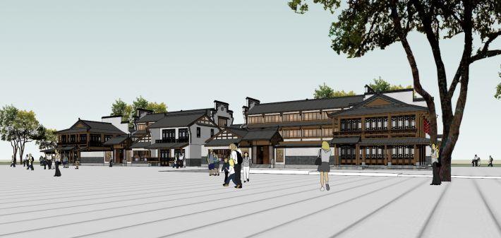 中式古典商业街风格设计(su模型)