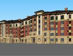 草原风格多层住宅建筑设计模型