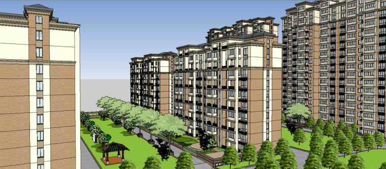 现代风格居住区建筑模型设计(su模型)