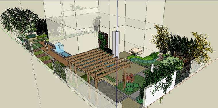 办公楼庭院景观模型设计