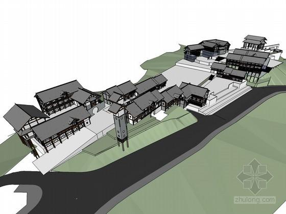 木结构建筑SketchUp模型下载