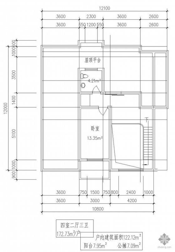 板式多层一梯二户四室二厅三卫有跃层户型图(173/173)