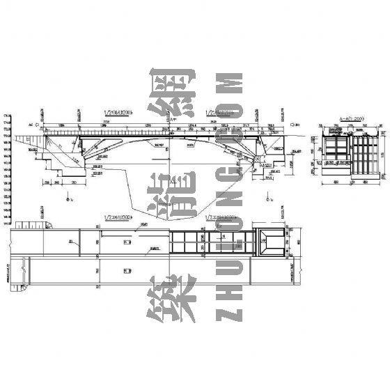 50m现浇钢筋混凝土肋腋板刚架拱桥成套cad设计图纸